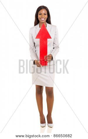young african woman pointing her face with arrow isolated on white
