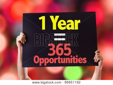 1 Year = 365 Opportunities card with beach background