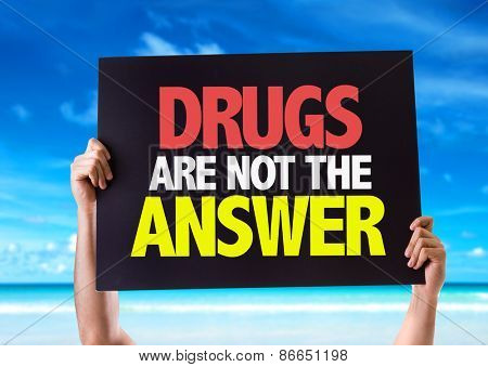 Drugs Are Not The Answer card with beach background