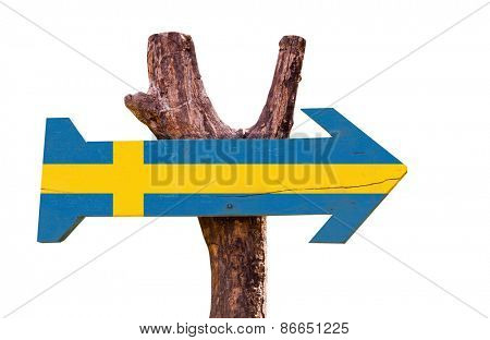 Sweden wooden sign isolated on white background