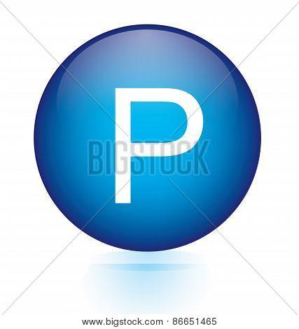Letter P blue circular button
