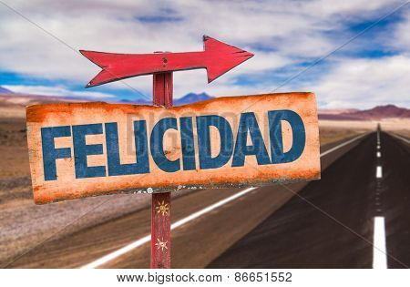 Happiness (in Spanish) sign with road background