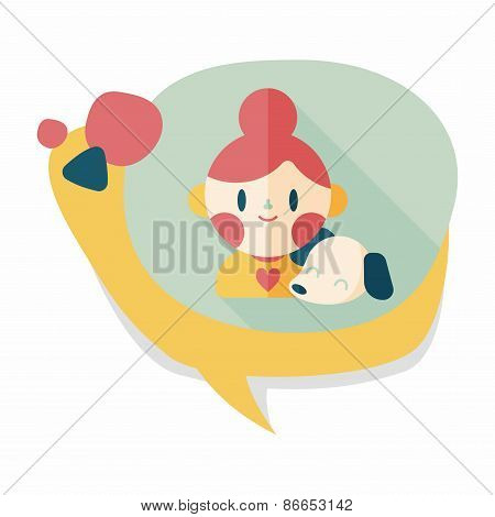 Pet Dog And Girl Friendship Flat Icon With Long Shadow,eps10