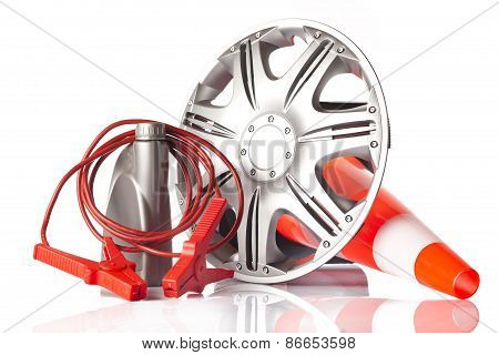 alloy wheel with jump start cable
