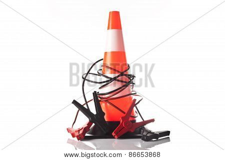 traffic cone and jump start cable