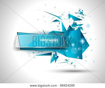Glass Banner with Abstract Shape and glossy effect with transparent shadows. Idea to use as adtertisement panel, infographic backgrpund, item showcase and so on