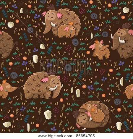 Cute floral seamless pattern with mammoths
