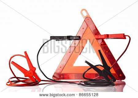 warning triangle and road emergency items