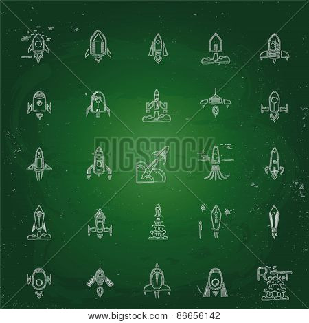 Rocket Icons, Set Sketches, Doodles
