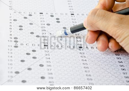 Hand Erase Wrong Answer On Exam Carbon Paper Computer Sheet