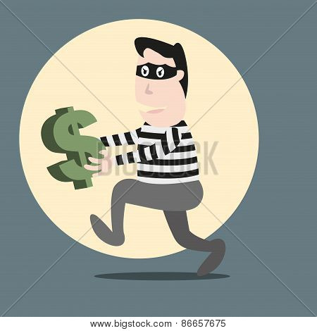 Thief Running Stealing Money