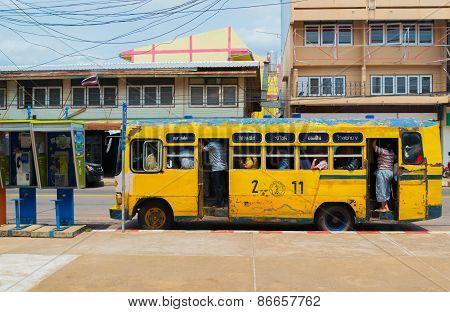 People ride Vintage bus of Sakon Nakhon in thailand.