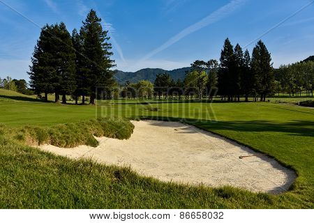 Golf Bunker Or Sand Trap In Fairway