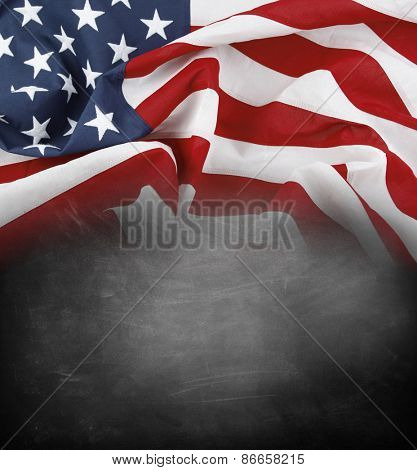 American flag on a blackboard