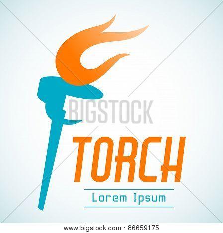 Vector Logo Design Template Of A Torch