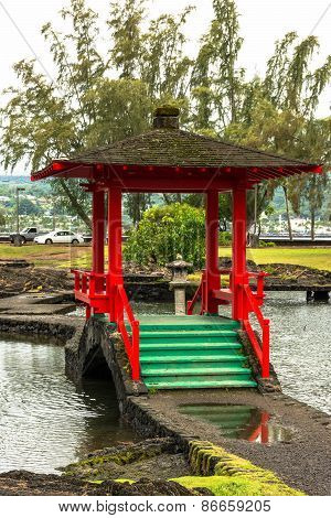 Pagoda in the Japanese Gardens in Hilo, Hawaii
