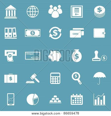 Banking Icons On Blue Background