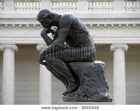 Side Profile Of The Thinker By Rodin At The Legion Of Honor