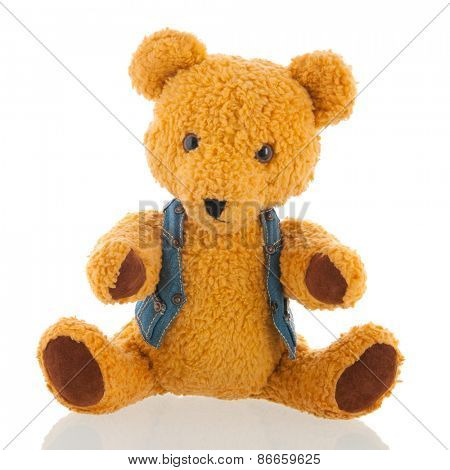 Stuffed teddy bear isolated over white background