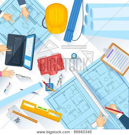 Working table of architect