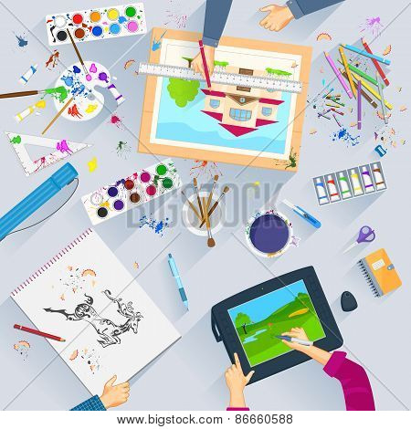 Working table of graphic artist