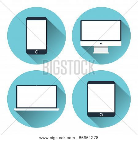 Set of icons of modern electronic devices. Desktop computer, tablet, laptop and mobile phone. Flat d