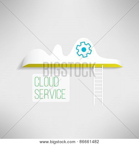 Cloud service icon with a ladder. Network technology in progress. Remote storage concept.