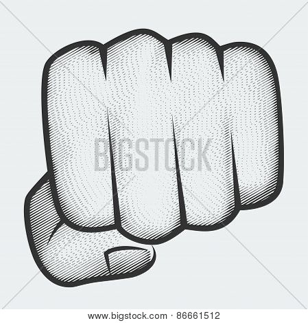 Punching Fist Aimed At The Viewer, Engraving Style