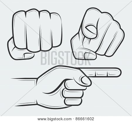 Punching Fist, Hand With Index Finger Pointing At The Viewer And Side View Pointing Hand
