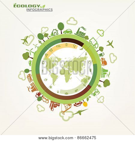 World, Global Ecology Concept, Environmental Icons