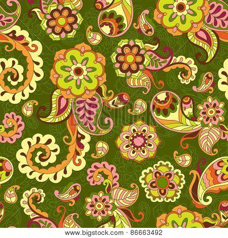 Turkish cucumber seamless pattern, green