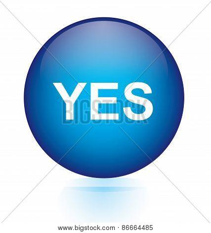 Yes blue circular button