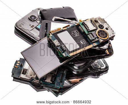Many Broken Phones Closeup