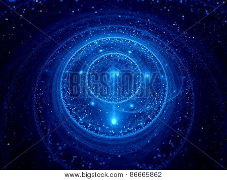 Blue Glowing Galactic Clock