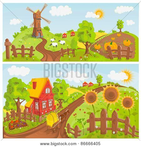 Rural landscapes illustration