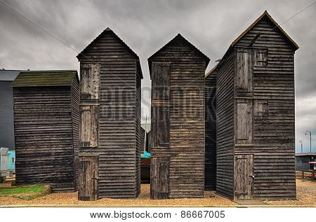 Tall wooden fishing huts
