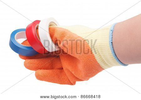 Hand In Glove Holding Duct Tape