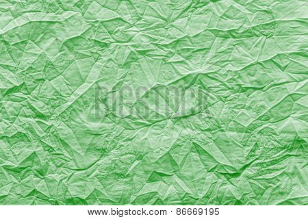 Crumpled Texture Fabric Of Bright Emerald Color