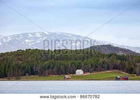 Traditional Norwegian Rural Landscape, Wooden Houses