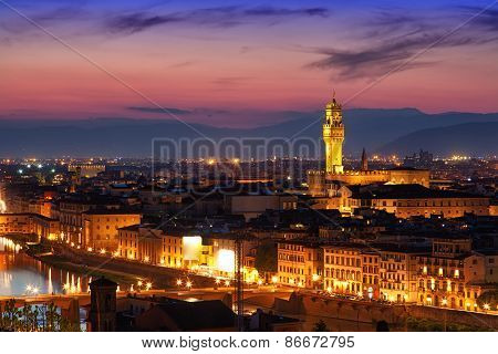 Beautiful View Of Palazzo Vecchio In Evening Illumination And The River Arno, Florence, Italy