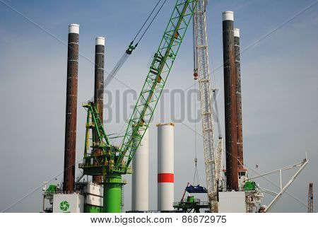 Wind farm offshore energy construction