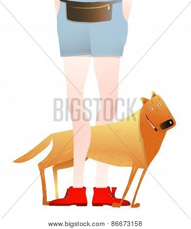 Smiling Red Dog Standing Near Feet of Man or Woman