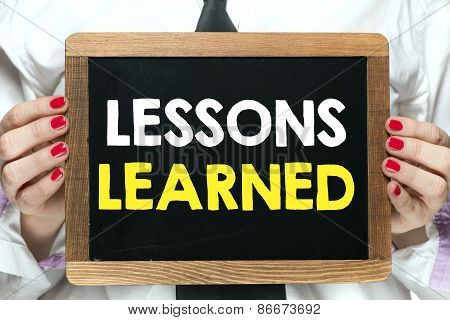 Blackboard with lessons learned