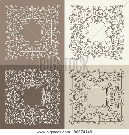 Vector floral mono line frame with copy space