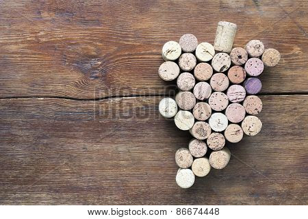 Grape Bunch On Wood