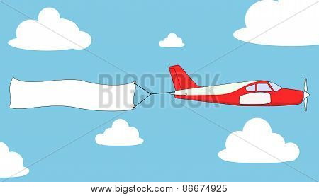 Airplane with empty banner