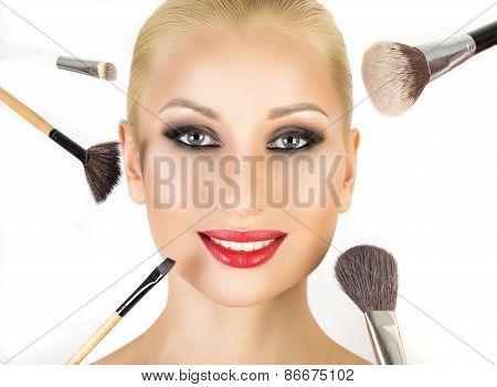Base for Perfect Make-up.Applying Make-up