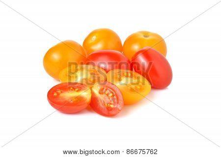 Cherry Tomato And Yellow Plum Tomato On White Background