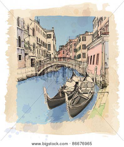 2 gondolas. Ponte del Mondo Novo, Campo S.Maria Formosa. Venice, Italy.