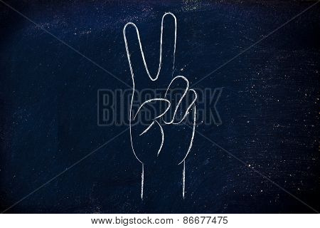 World Peace And Happiness, Hands Making Peace Sign